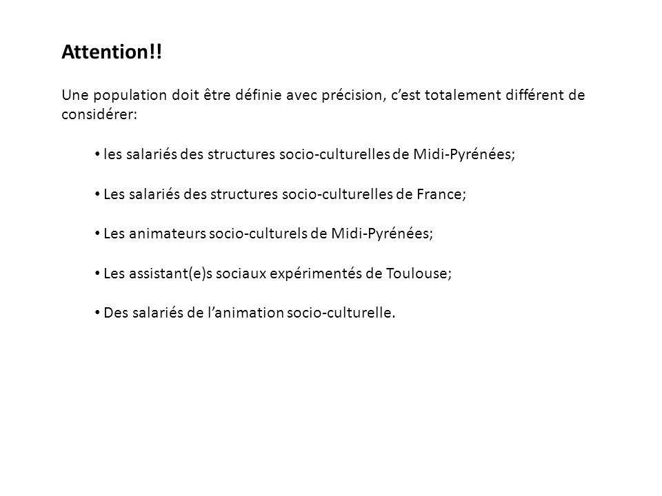 Attention!! Une population doit être définie avec précision, c'est totalement différent de considérer: