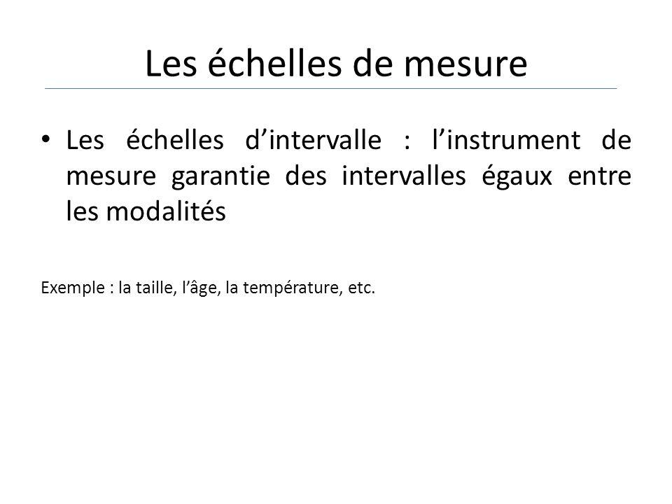 Les échelles de mesure Les échelles d'intervalle : l'instrument de mesure garantie des intervalles égaux entre les modalités.