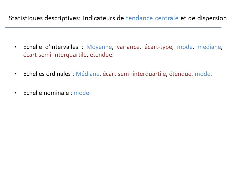 Statistiques descriptives: indicateurs de tendance centrale et de dispersion
