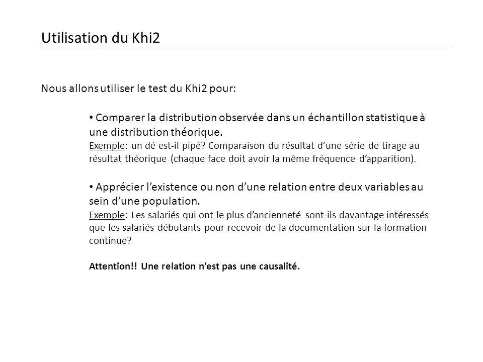 Utilisation du Khi2 Nous allons utiliser le test du Khi2 pour: