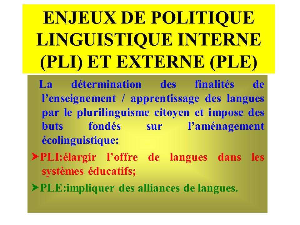 ENJEUX DE POLITIQUE LINGUISTIQUE INTERNE (PLI) ET EXTERNE (PLE)