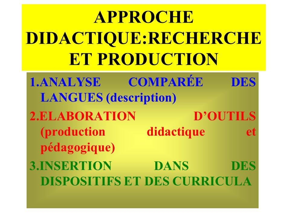 APPROCHE DIDACTIQUE:RECHERCHE ET PRODUCTION