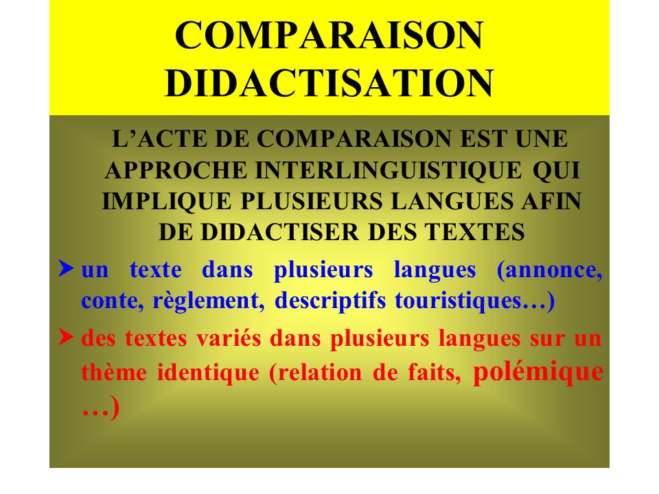 COMPARAISON DIDACTISATION