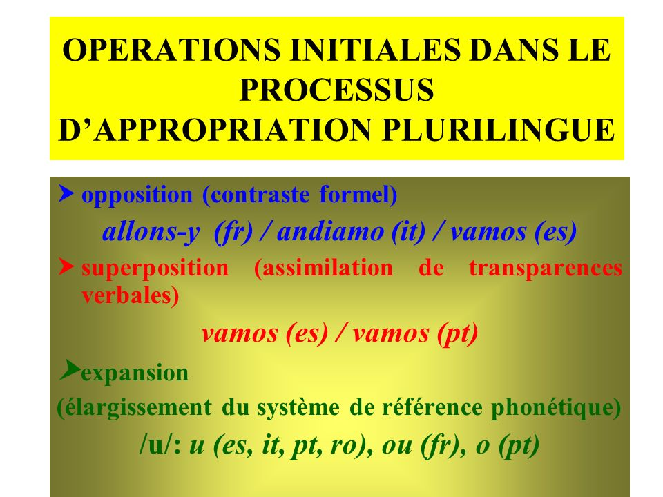 OPERATIONS INITIALES DANS LE PROCESSUS D'APPROPRIATION PLURILINGUE