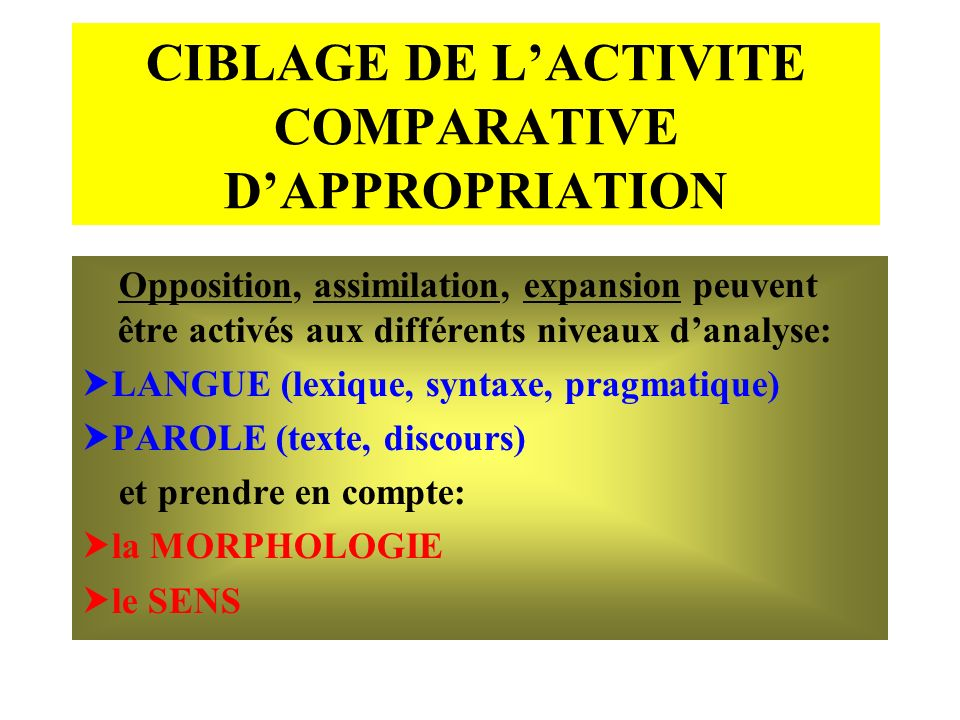 CIBLAGE DE L'ACTIVITE COMPARATIVE D'APPROPRIATION