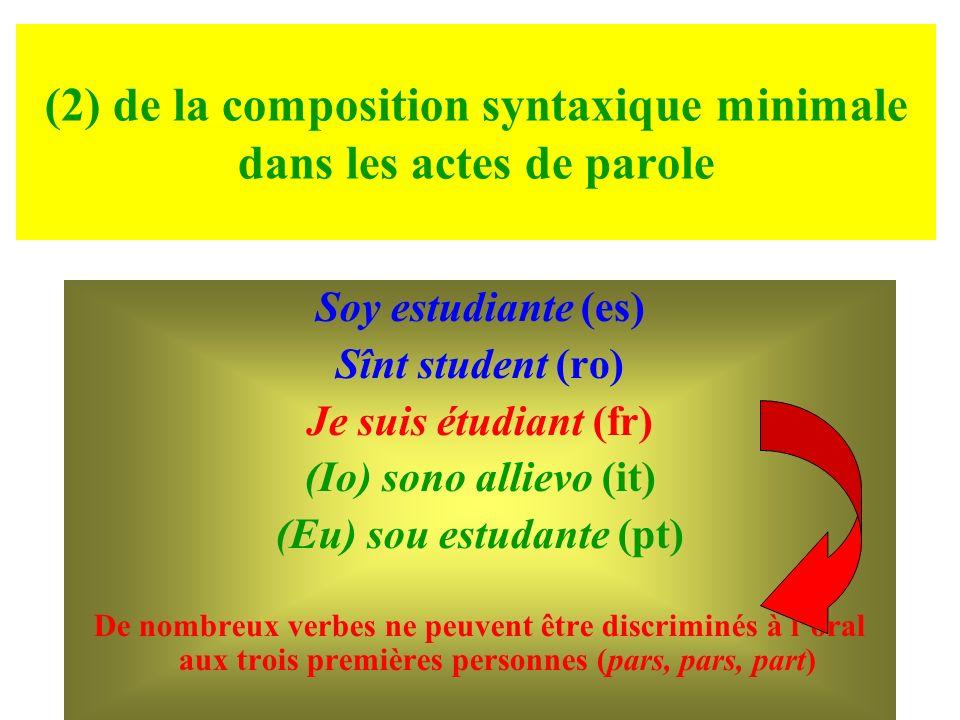 (2) de la composition syntaxique minimale dans les actes de parole