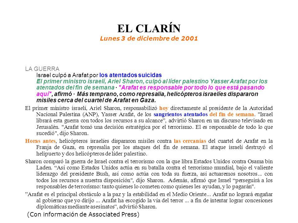 EL CLARÍN Lunes 3 de diciembre de 2001