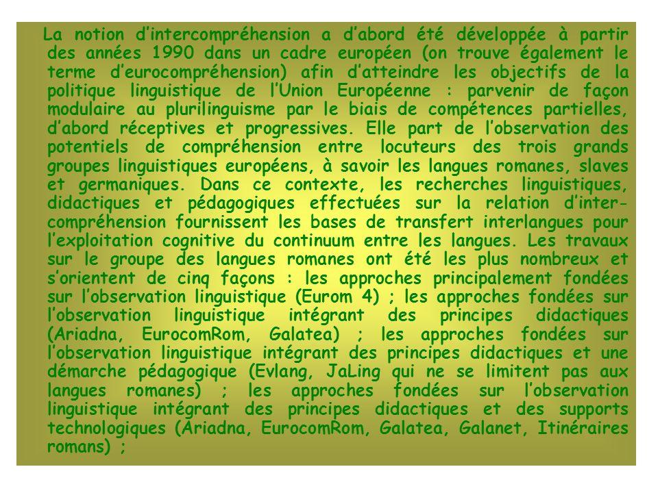 La notion d'intercompréhension a d'abord été développée à partir des années 1990 dans un cadre européen (on trouve également le terme d'eurocompréhension) afin d'atteindre les objectifs de la politique linguistique de l'Union Européenne : parvenir de façon modulaire au plurilinguisme par le biais de compétences partielles, d'abord réceptives et progressives.