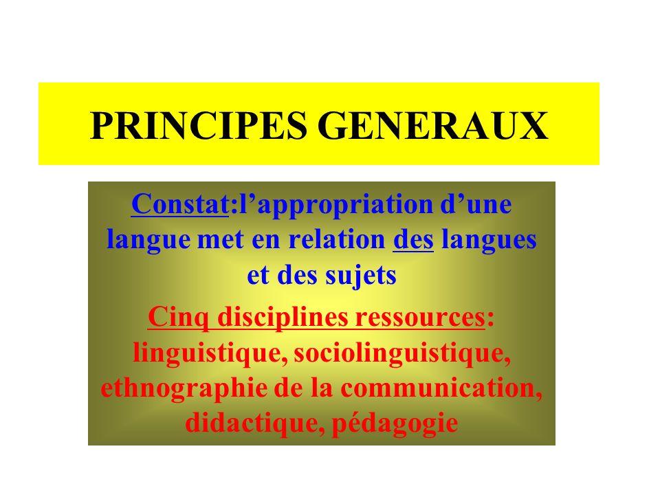 PRINCIPES GENERAUX Constat:l'appropriation d'une langue met en relation des langues et des sujets.