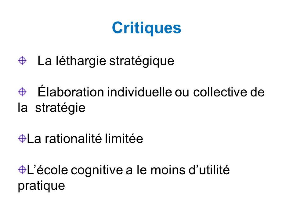 Critiques La léthargie stratégique