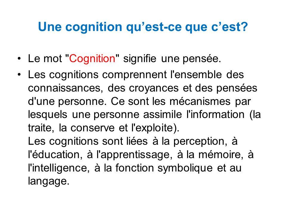 Une cognition qu'est-ce que c'est