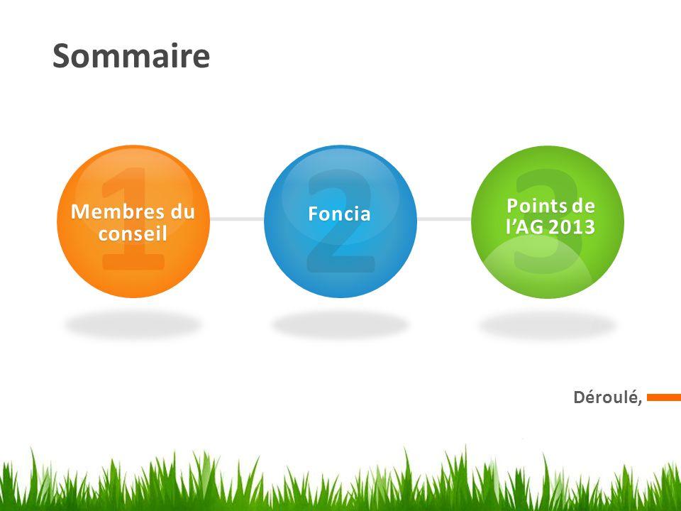 Sommaire 1 Membres du conseil 2 Foncia 3 Points de l'AG 2013 Déroulé,