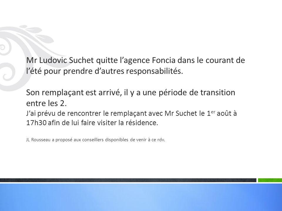 Mr Ludovic Suchet quitte l'agence Foncia dans le courant de l'été pour prendre d'autres responsabilités.