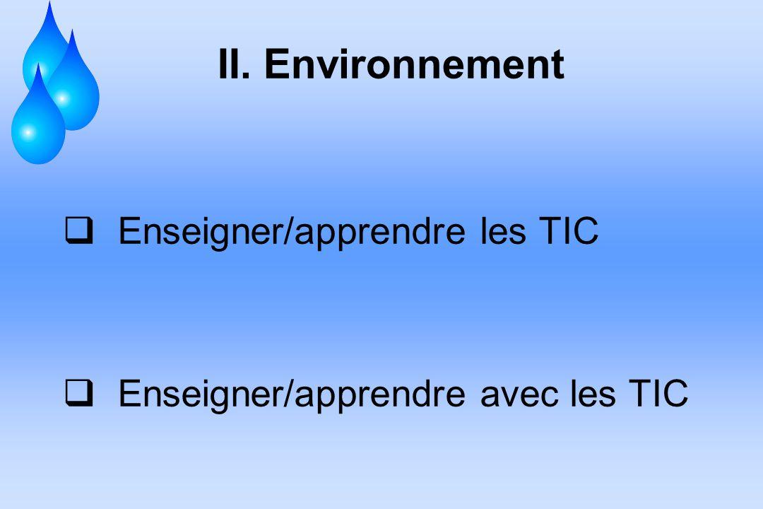 II. Environnement Enseigner/apprendre les TIC