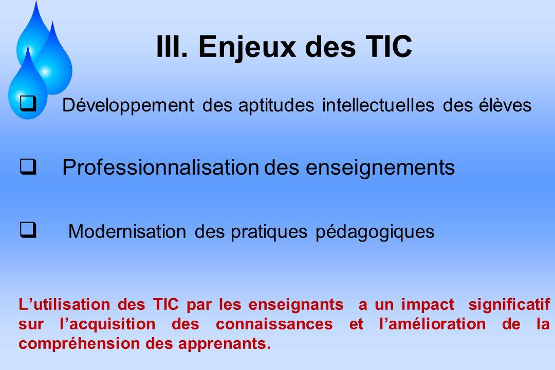 III. Enjeux des TIC Développement des aptitudes intellectuelles des élèves. Professionnalisation des enseignements.