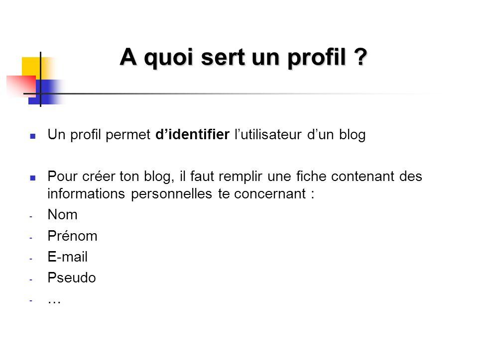 A quoi sert un profil Un profil permet d'identifier l'utilisateur d'un blog.