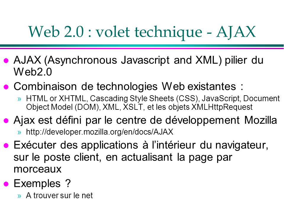 Web 2.0 : volet technique - AJAX