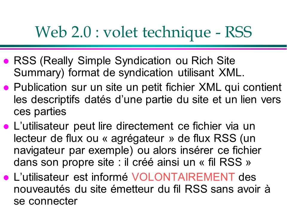 Web 2.0 : volet technique - RSS