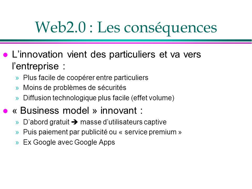 Web2.0 : Les conséquences L'innovation vient des particuliers et va vers l'entreprise : Plus facile de coopérer entre particuliers.
