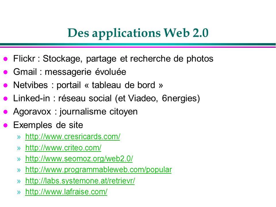 Des applications Web 2.0Flickr : Stockage, partage et recherche de photos. Gmail : messagerie évoluée.