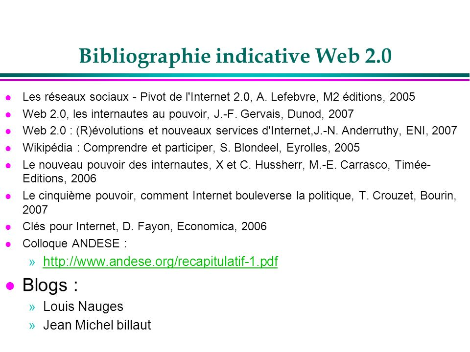 Bibliographie indicative Web 2.0