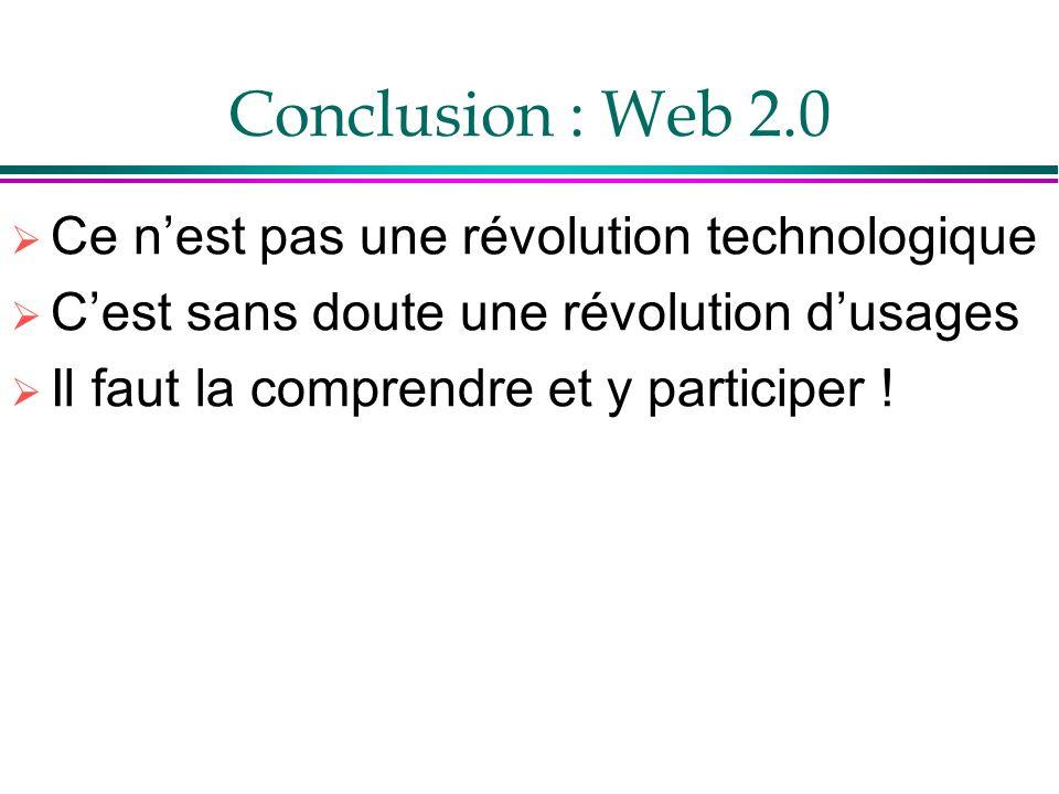 Conclusion : Web 2.0 Ce n'est pas une révolution technologique