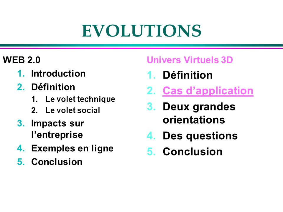 EVOLUTIONS Définition Cas d'application Deux grandes orientations