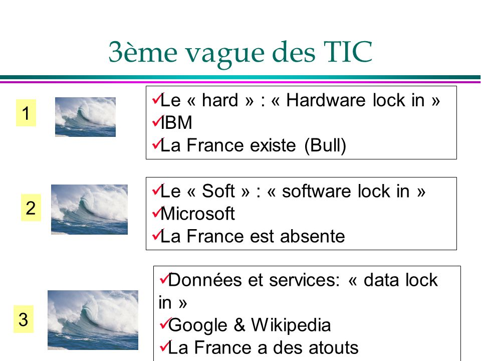 3ème vague des TIC Le « hard » : « Hardware lock in » IBM 1