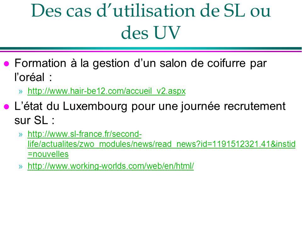 Des cas d'utilisation de SL ou des UV