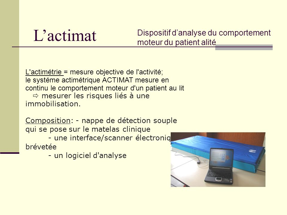 L'actimat Dispositif d'analyse du comportement moteur du patient alité