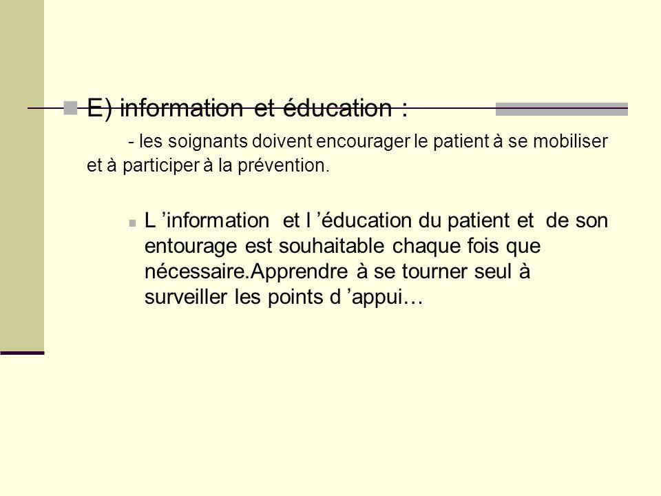 E) information et éducation :