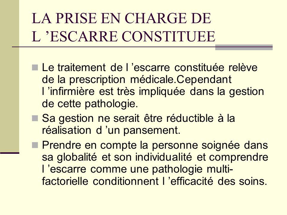 LA PRISE EN CHARGE DE L 'ESCARRE CONSTITUEE