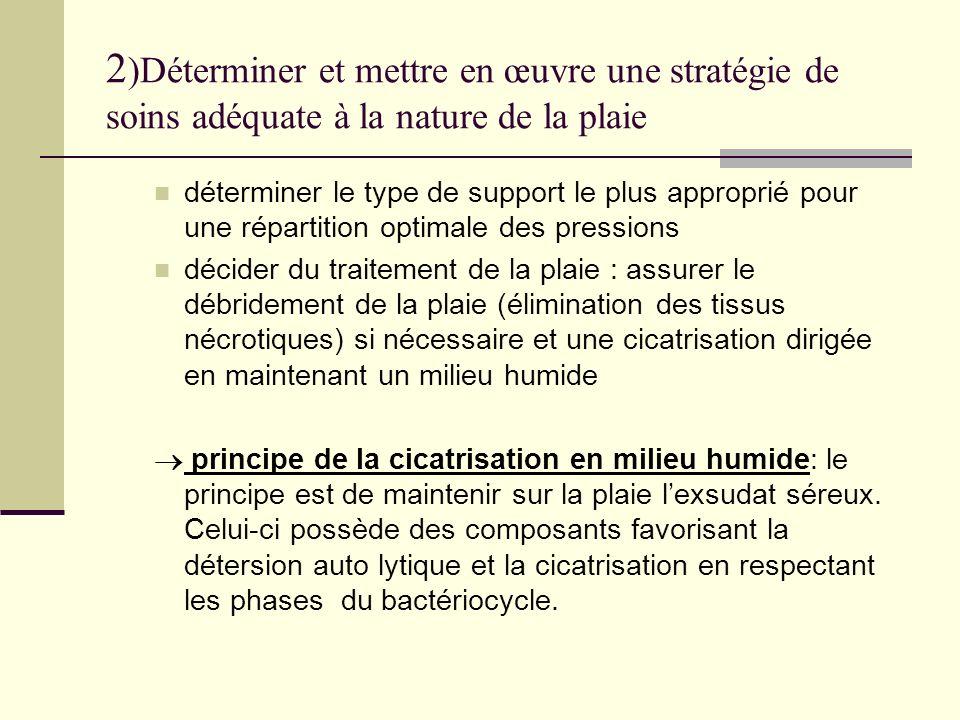 2)Déterminer et mettre en œuvre une stratégie de soins adéquate à la nature de la plaie