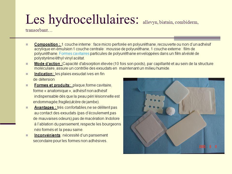 Les hydrocellulaires: allevyn, biatain, combiderm, transorbant…