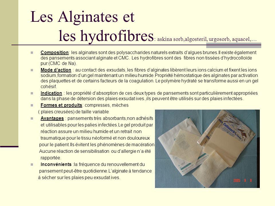 Les Alginates et les hydrofibres: askina sorb,algosteril, urgosorb, aquacel,…