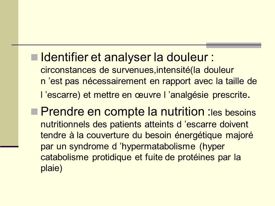 Identifier et analyser la douleur : circonstances de survenues,intensité(la douleur n 'est pas nécessairement en rapport avec la taille de l 'escarre) et mettre en œuvre l 'analgésie prescrite.