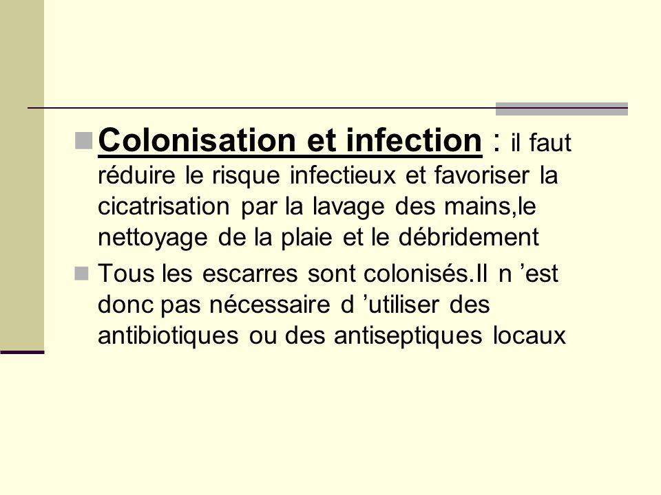 Colonisation et infection : il faut réduire le risque infectieux et favoriser la cicatrisation par la lavage des mains,le nettoyage de la plaie et le débridement