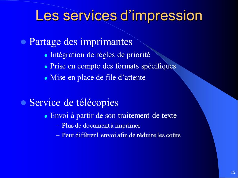 Les services d'impression