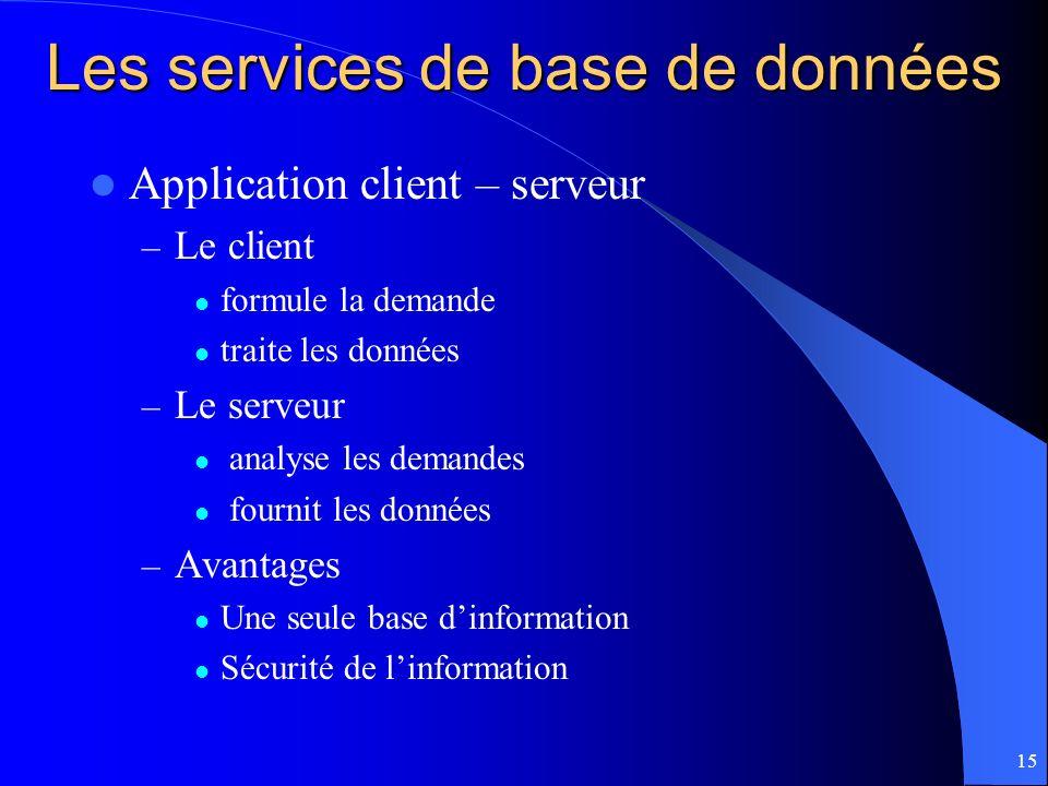 Les services de base de données