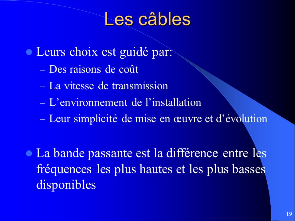 Les câbles Leurs choix est guidé par: