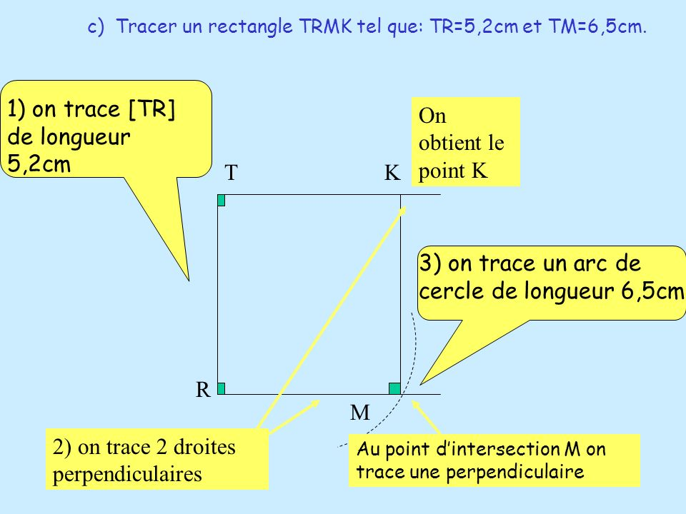1) on trace [TR] de longueur 5,2cm On obtient le point K