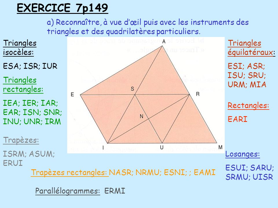 EXERCICE 7p149 a) Reconnaître, à vue d'œil puis avec les instruments des triangles et des quadrilatères particuliers.