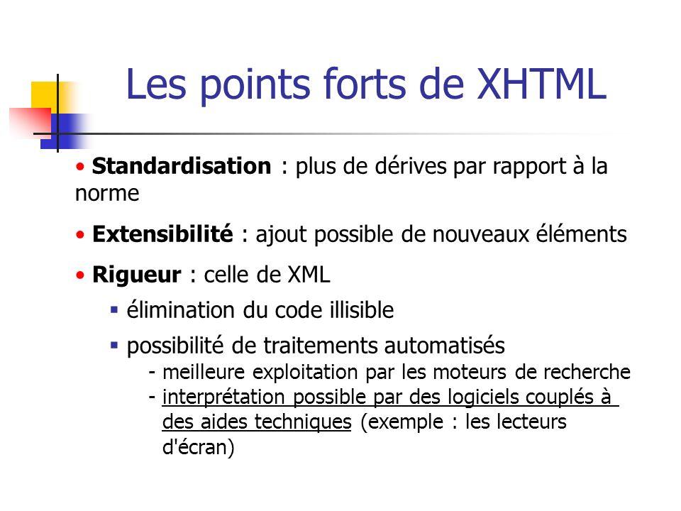 Les points forts de XHTML
