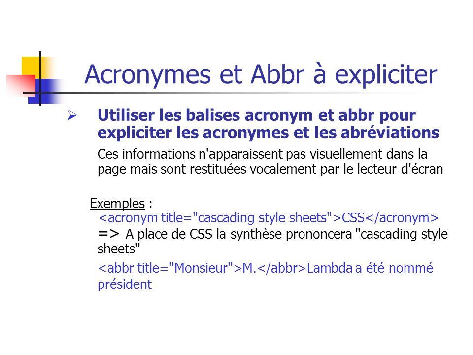 Acronymes et Abbr à expliciter