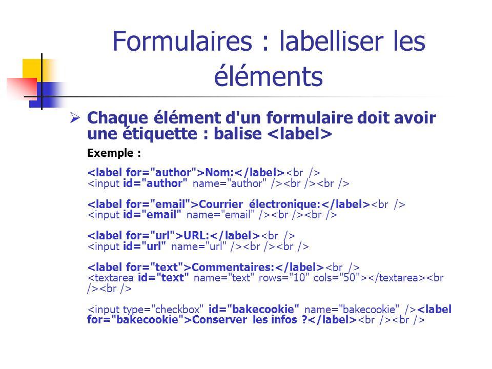 Formulaires : labelliser les éléments