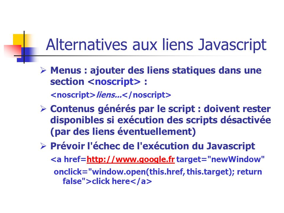 Alternatives aux liens Javascript
