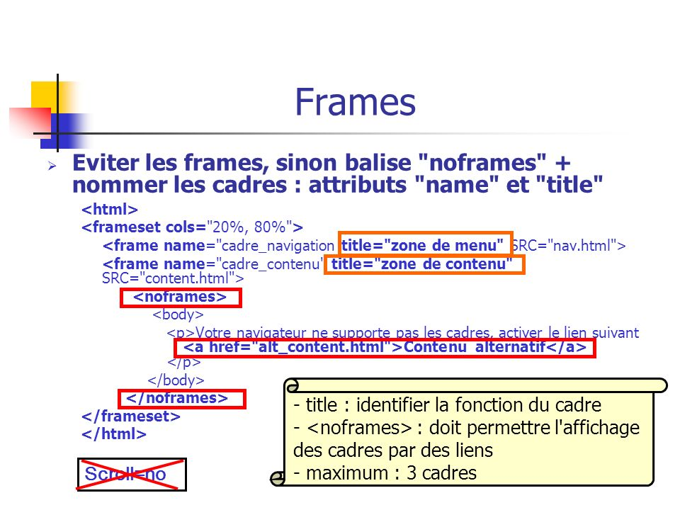 FramesEviter les frames, sinon balise noframes + nommer les cadres : attributs name et title <html>