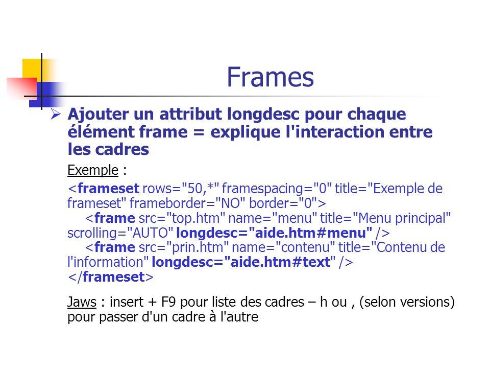 Frames Ajouter un attribut longdesc pour chaque élément frame = explique l interaction entre les cadres.
