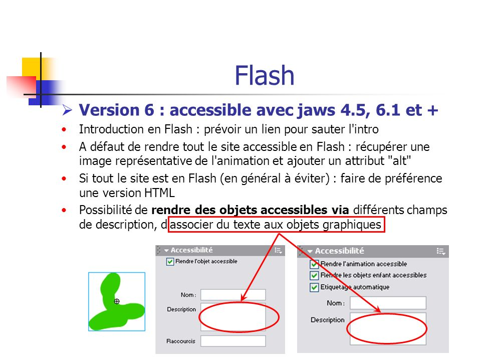 Flash Version 6 : accessible avec jaws 4.5, 6.1 et +
