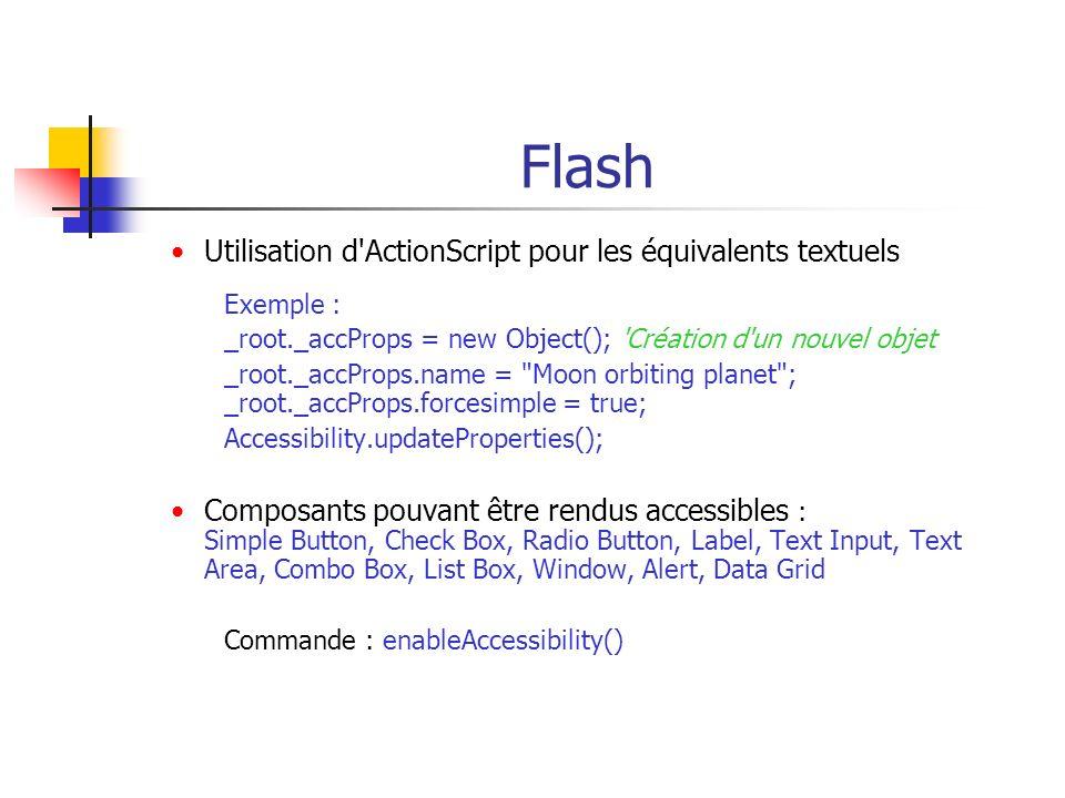Flash Utilisation d ActionScript pour les équivalents textuels